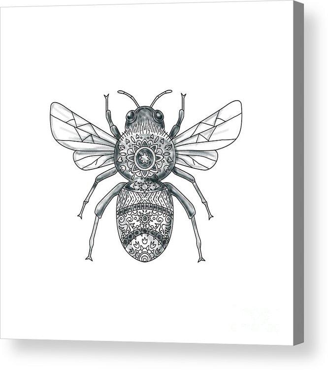 594f83410 Tattoo Acrylic Print featuring the digital art Bumble Bee Mandala Tattoo by  Aloysius Patrimonio. Wall View 001