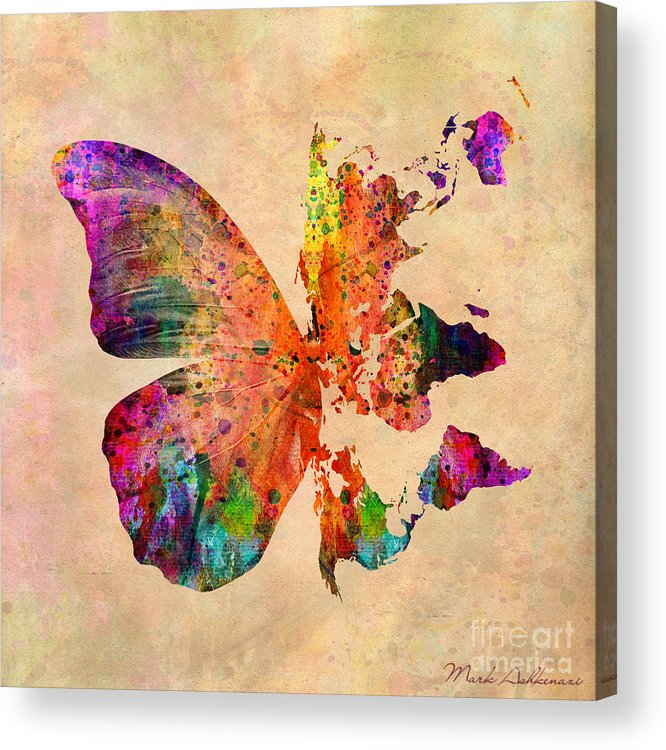 Butterfly Acrylic Print featuring the digital art Butterfly World Map by Mark Ashkenazi