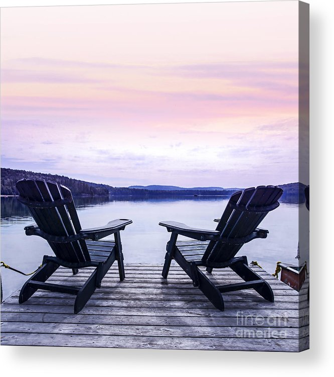 Chairs Acrylic Print featuring the photograph Chairs On Lake Dock by Elena Elisseeva