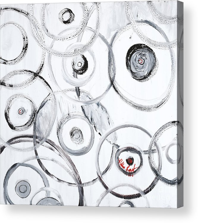 Circles Acrylic Print featuring the painting Choices In White by Nadine Rippelmeyer