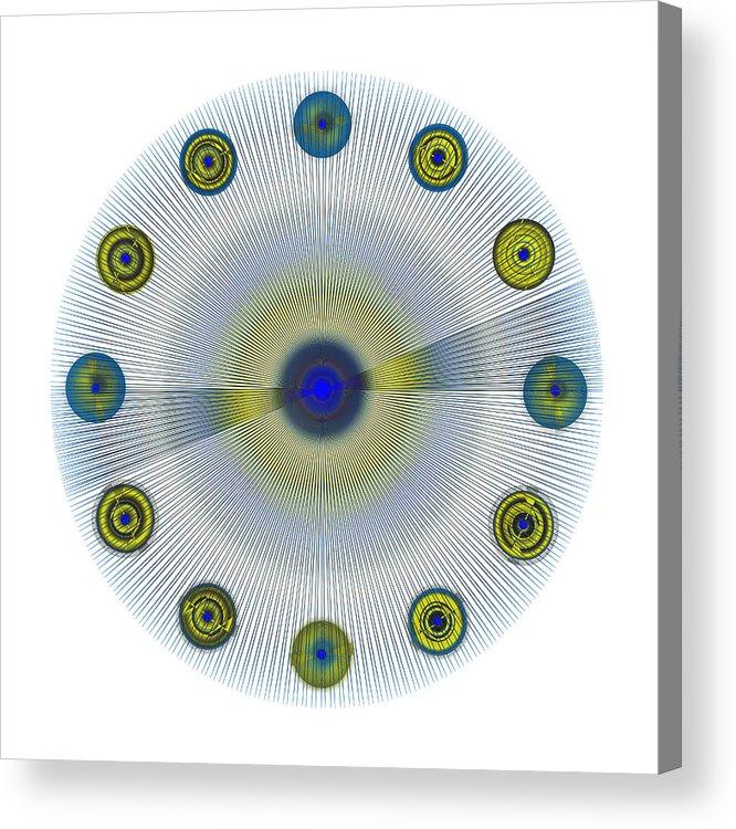 Multi-colored Acrylic Print featuring the digital art Circle Study No. 154 by Alan Bennington