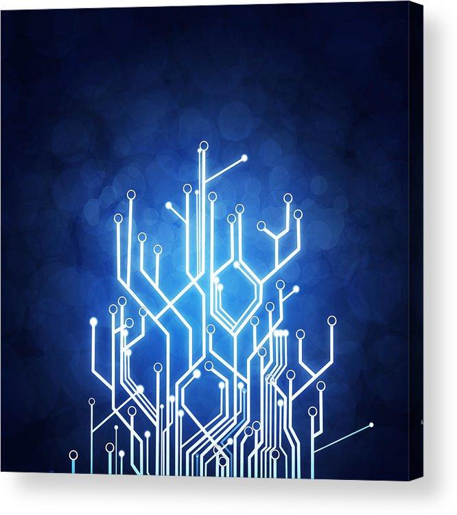 Abstract Acrylic Print featuring the photograph Circuit Board Technology by Setsiri Silapasuwanchai