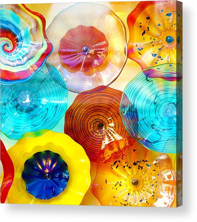 Glass Acrylic Print featuring the photograph Colorful Plates by Artist and Photographer Laura Wrede