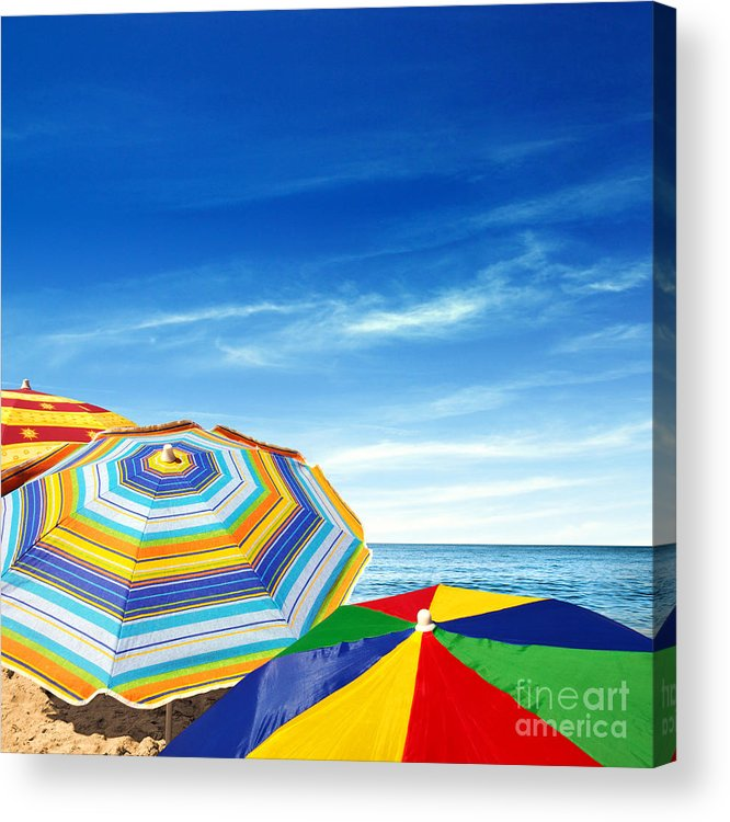 Abstract Acrylic Print featuring the photograph Colorful Sunshades by Carlos Caetano