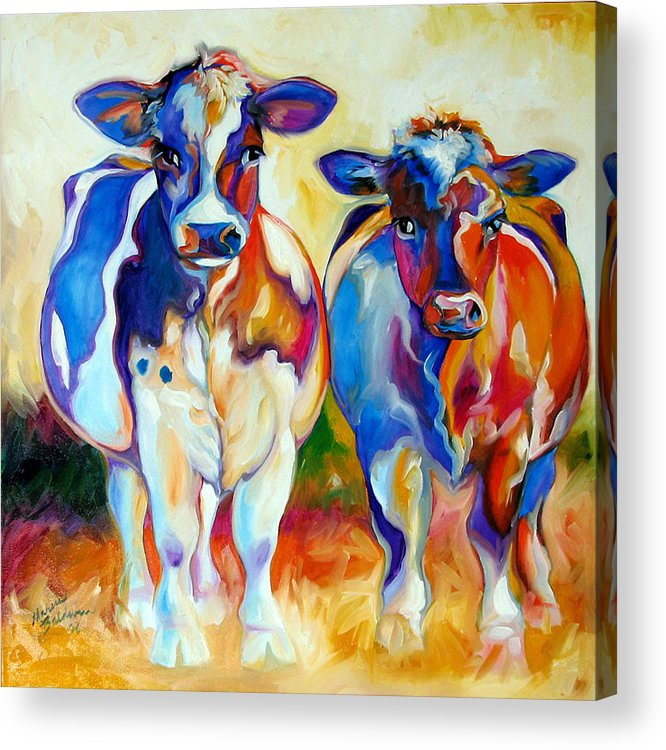 Cow Acrylic Print featuring the painting Cow Therapy Makes You Smile by Marcia Baldwin