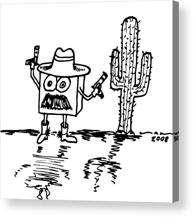 Drawing Acrylic Print featuring the drawing Cowboy Box by Karl Addison