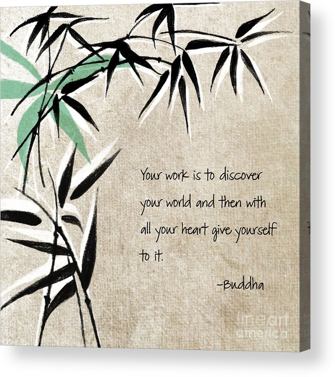 Zen Acrylic Print featuring the mixed media Discover Your World by Linda Woods