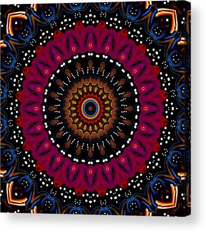 Digital Acrylic Print featuring the digital art Dotted Wishes No. 5 Kaleidoscope by Joy McKenzie
