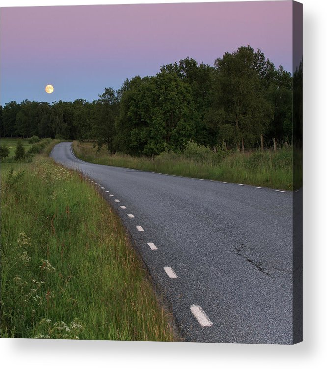 Square Acrylic Print featuring the photograph Empty Road In Countryside Landscape by Jens Ceder Photography