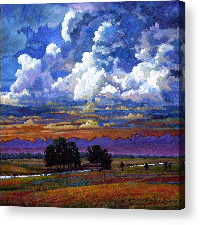Landscape Acrylic Print featuring the painting Evening Clouds Over The Prairie by John Lautermilch