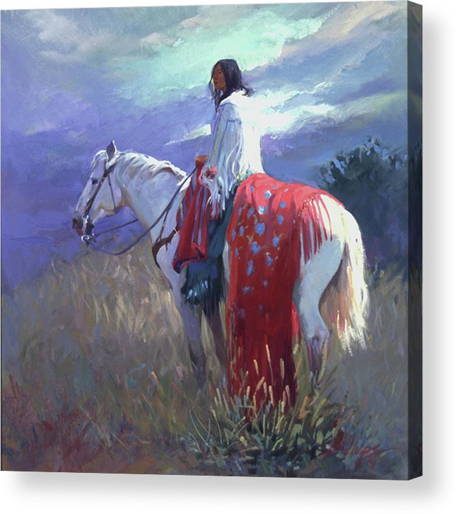 Native American Acrylic Print featuring the digital art Evening Solitude L. E. P. by Betty Jean Billups