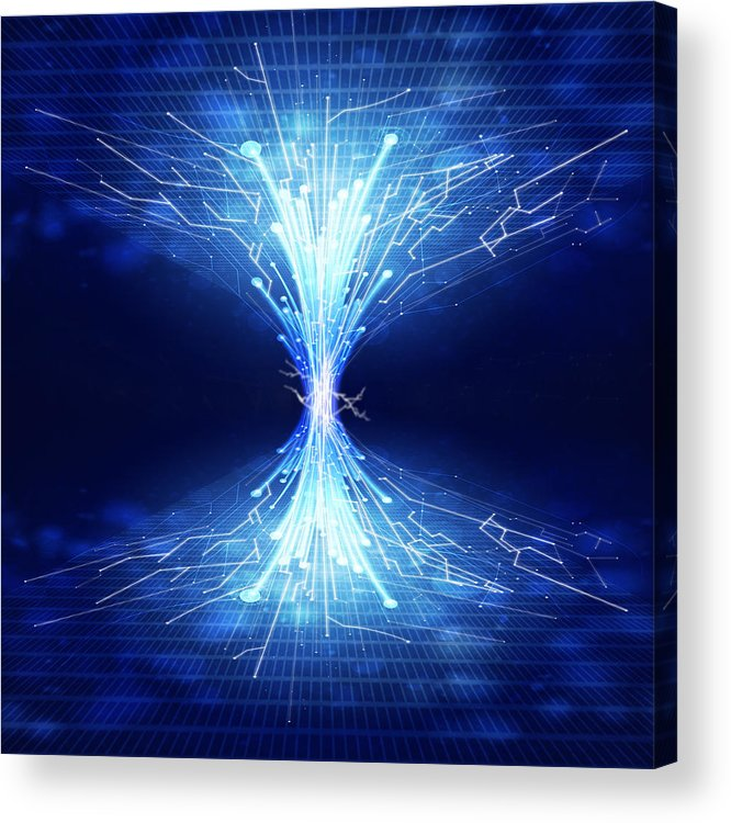 Abstract Acrylic Print featuring the photograph Fiber Optics And Circuit Board by Setsiri Silapasuwanchai