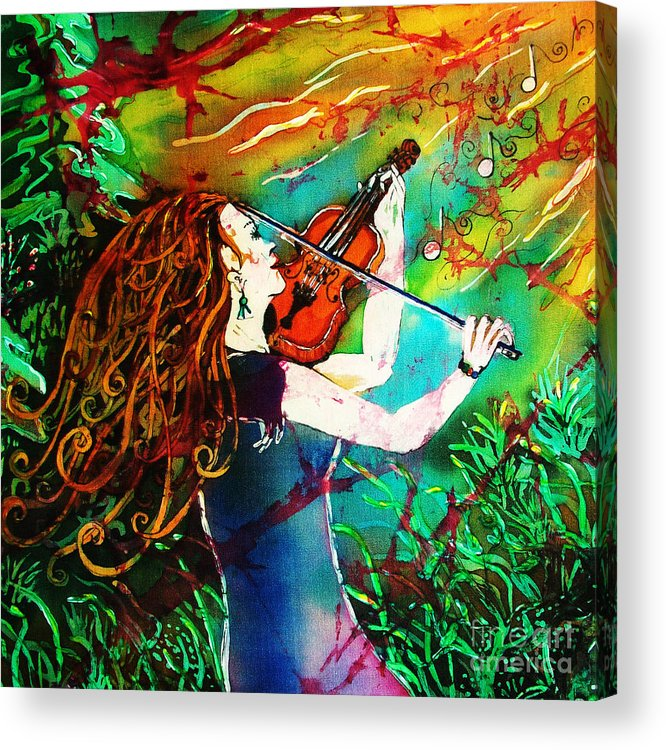 Music Acrylic Print featuring the painting Fiddling Toward The Sun by Sue Duda