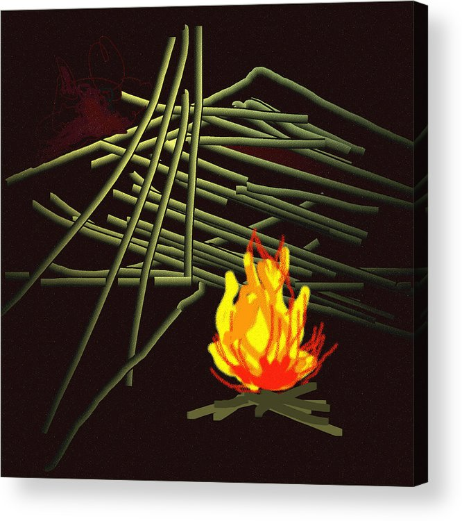 Acrylic Print featuring the painting Fire.... by Rashika Bordoloi