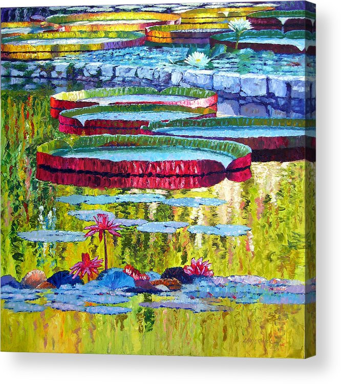 Lily Pond Acrylic Print featuring the painting Floating Parallel Universes by John Lautermilch