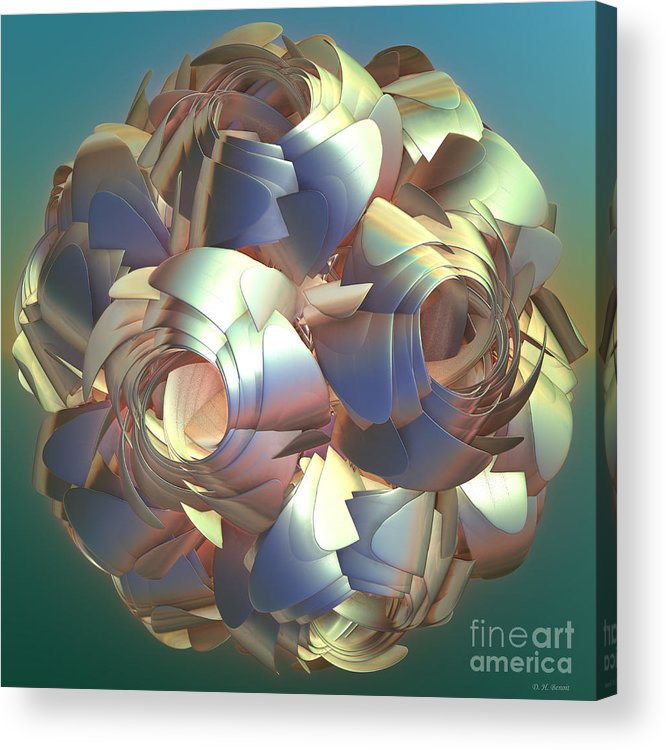 Digital Acrylic Print featuring the digital art Flower Globe by Deborah Benoit