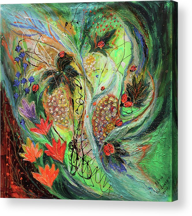 Jewish Art Acrylic Print featuring the painting Four Seasons Of Vine Summer by Elena Kotliarker