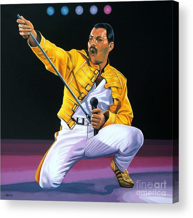 Freddie Mercury Acrylic Print featuring the painting Freddie Mercury Live by Paul Meijering