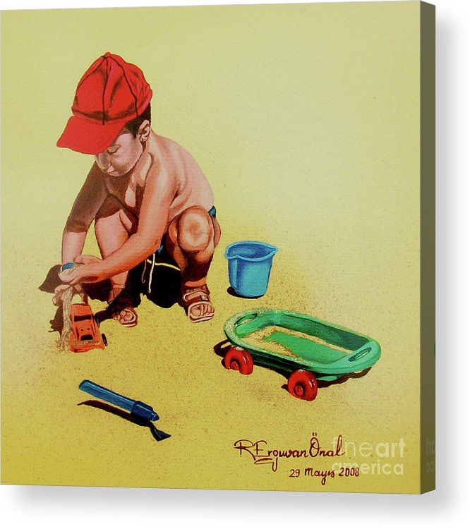 Beach Acrylic Print featuring the painting Game At The Beach - Juego En La Playa by Rezzan Erguvan-Onal