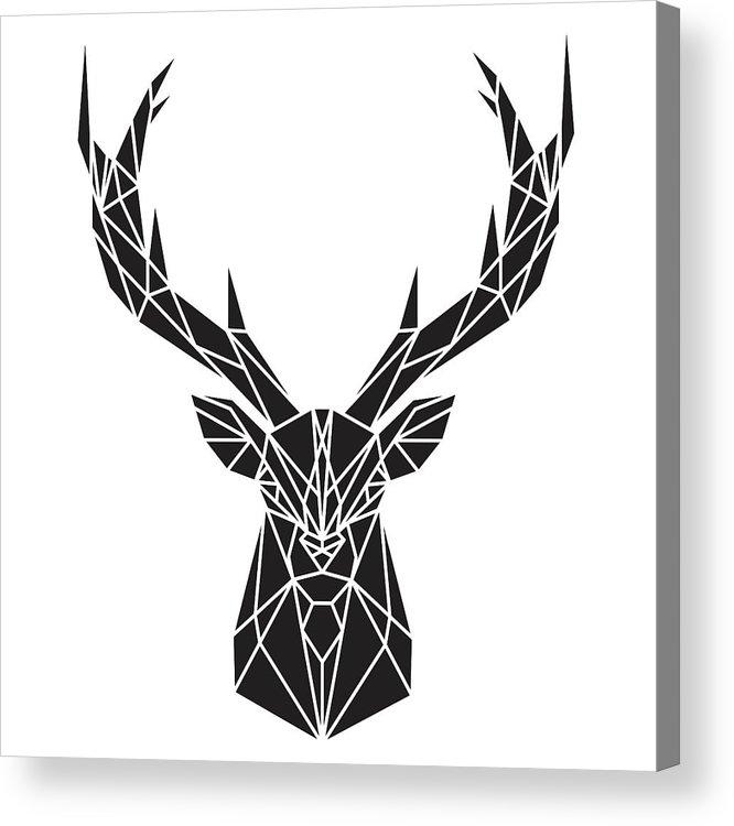 Geometric Deer Head Acrylic Print by Atelier B Art Studio