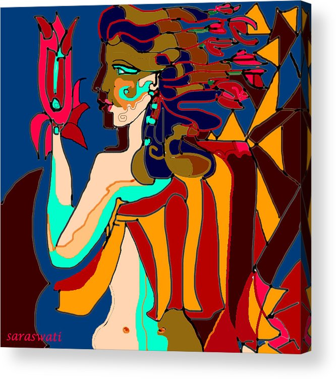 Gods Acrylic Print featuring the digital art Gods Of Dream by Helene Champaloux-Saraswati