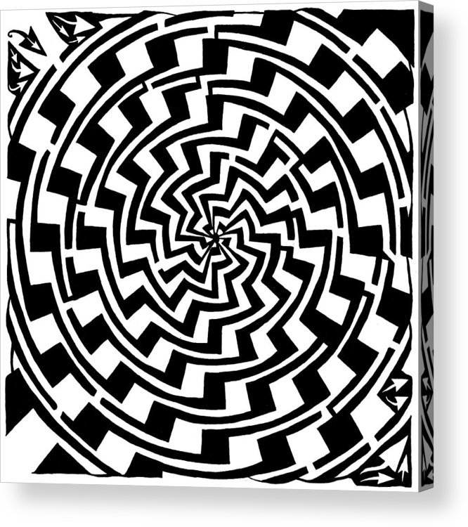 Gradient Acrylic Print featuring the drawing Gradient Tunnel Spin Maze by Yonatan Frimer Maze Artist