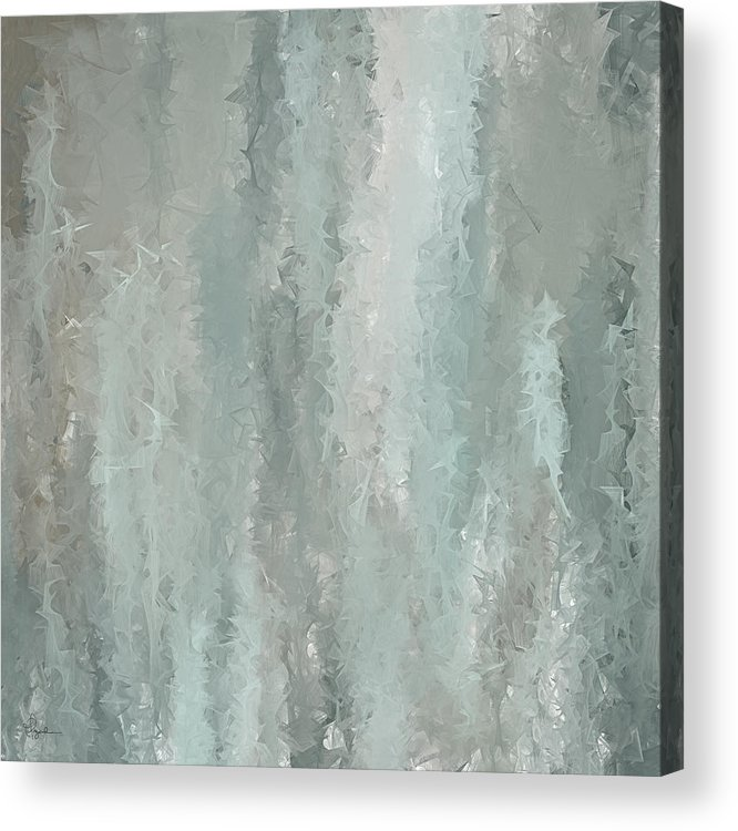 e0e6b74675b Turquoise Art Acrylic Print featuring the painting Grayish Blue Abstract Art  by Lourry Legarde