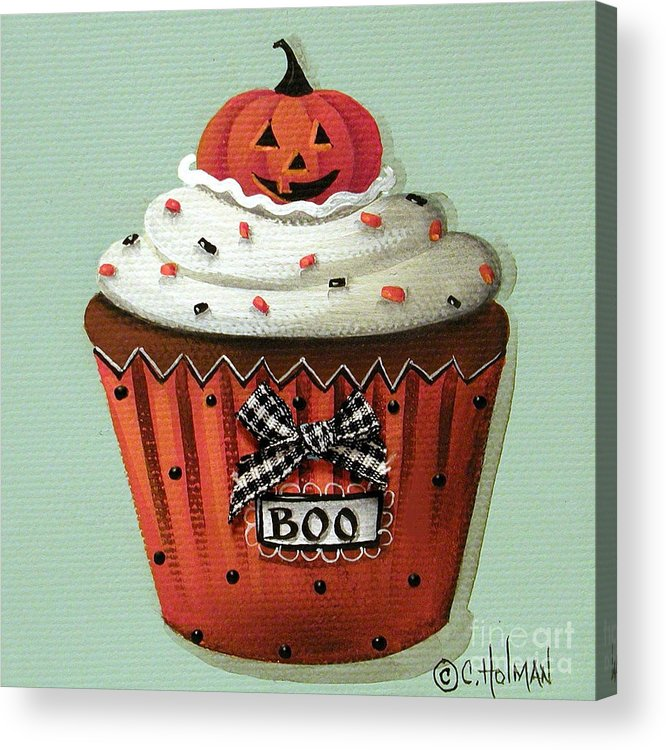 Art Acrylic Print featuring the painting Halloween Pumpkin Cupcake by Catherine Holman