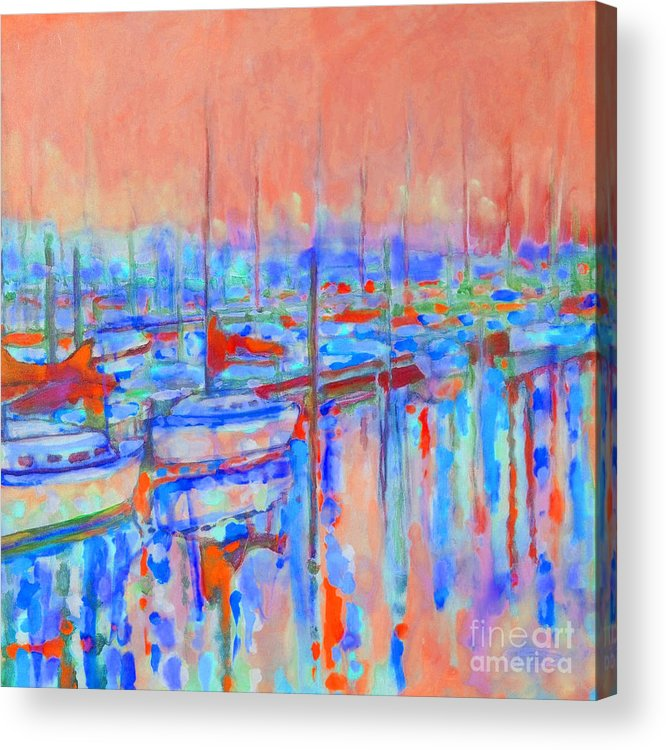 Harbor Acrylic Print featuring the painting Harbor Sunrise Eight Am by Kip Decker