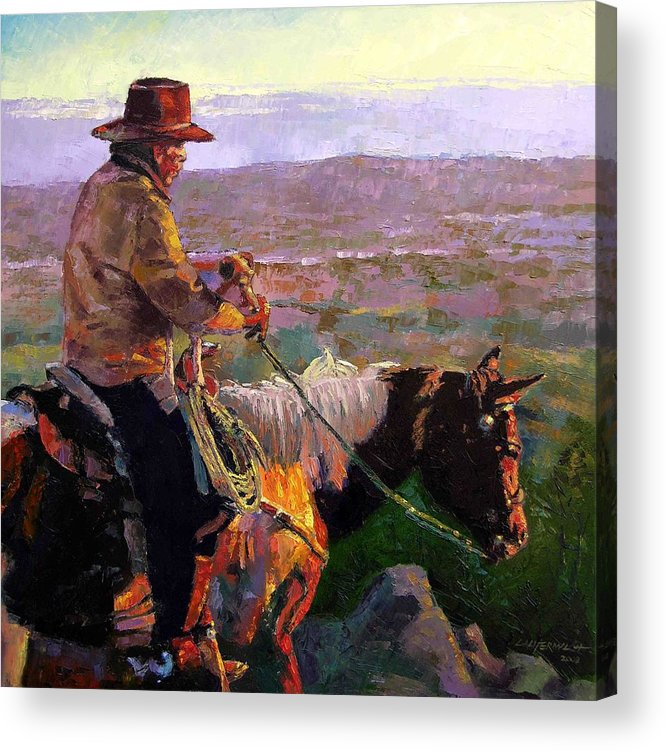 Coyboy Acrylic Print featuring the painting His Two Best Friends by John Lautermilch