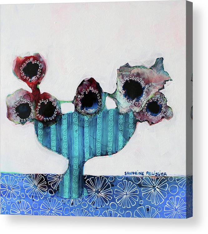 Abstract Flower Paintings Acrylic Print featuring the painting In Wellington by Sandrine Pelissier
