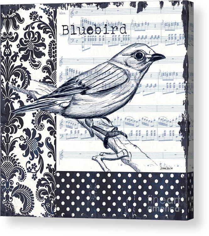 Bird Acrylic Print featuring the painting Indigo Vintage Songbird 1 by Debbie DeWitt