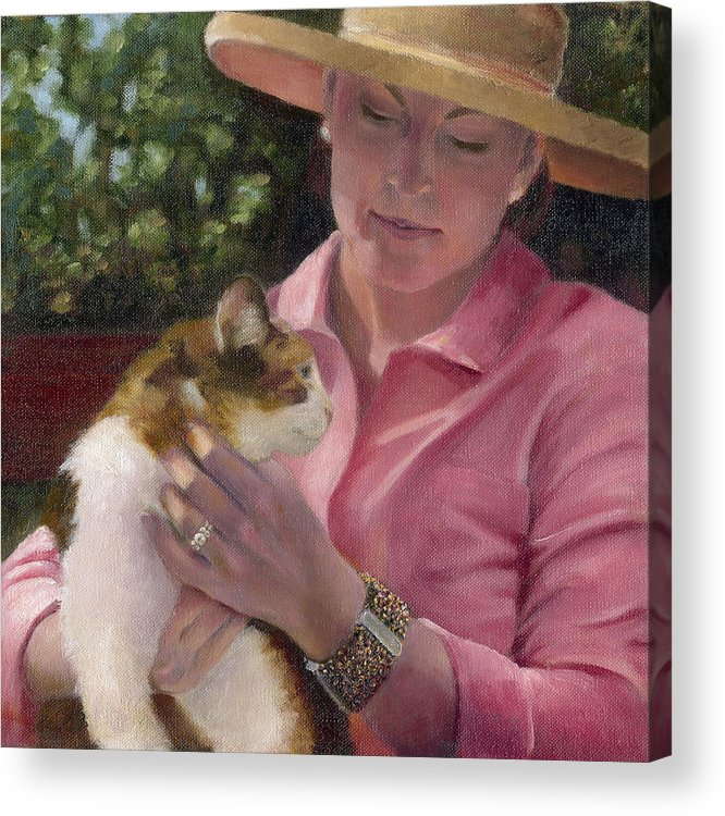Portrait Acrylic Print featuring the painting Joanne And Jj by Jean Scanlin Wright