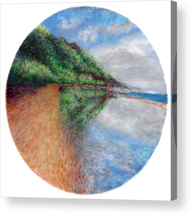 Rainbow Colors Pastel Acrylic Print featuring the painting Ke'e Tondo by Kenneth Grzesik
