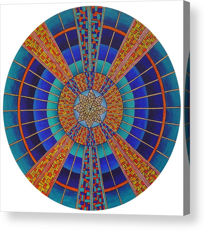 Mandala Acrylic Print featuring the painting Light Of Knowing by Charlotte Backman