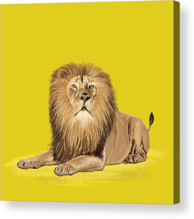 Africa Acrylic Print featuring the painting Lion Painting by Setsiri Silapasuwanchai