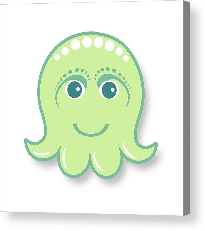 Little Octopus Acrylic Print featuring the digital art Little Cute Green Octopus by Ainnion