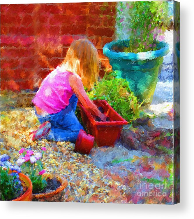 English Acrylic Print featuring the mixed media Lucys English Garden by Marilyn Sholin