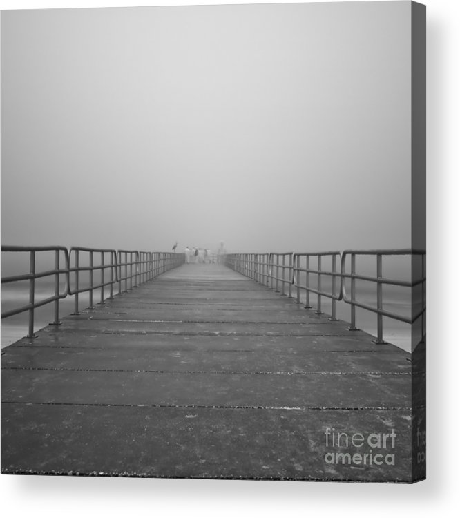 Infrared Acrylic Print featuring the photograph Manatee Beach Pier In Fog Infrared 39 by Rolf Bertram