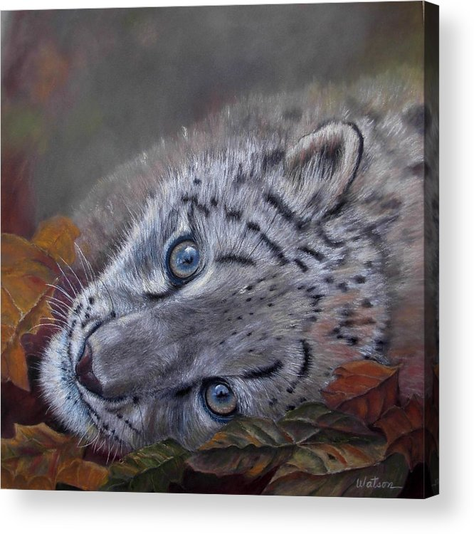 White Tiger Acrylic Print featuring the painting Mirucha In Fall by Ceci Watson
