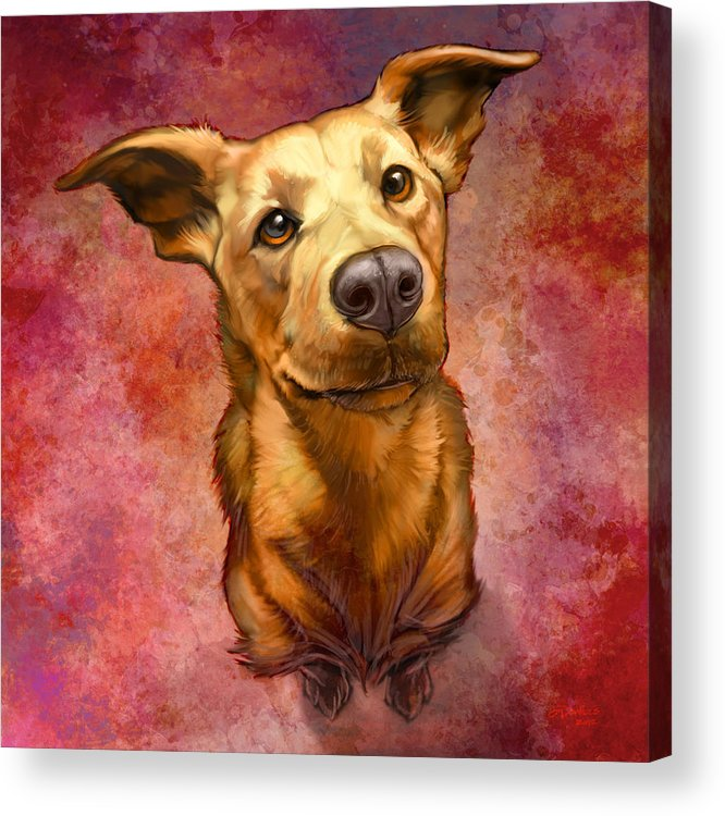 Dog Acrylic Print featuring the painting My Buddy by Sean ODaniels