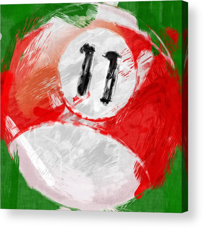 Eleven Acrylic Print featuring the photograph Number Eleven Billiards Ball Abstract by David G Paul