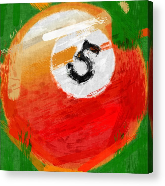 Five Acrylic Print featuring the photograph Number Five Billiards Ball Abstract by David G Paul