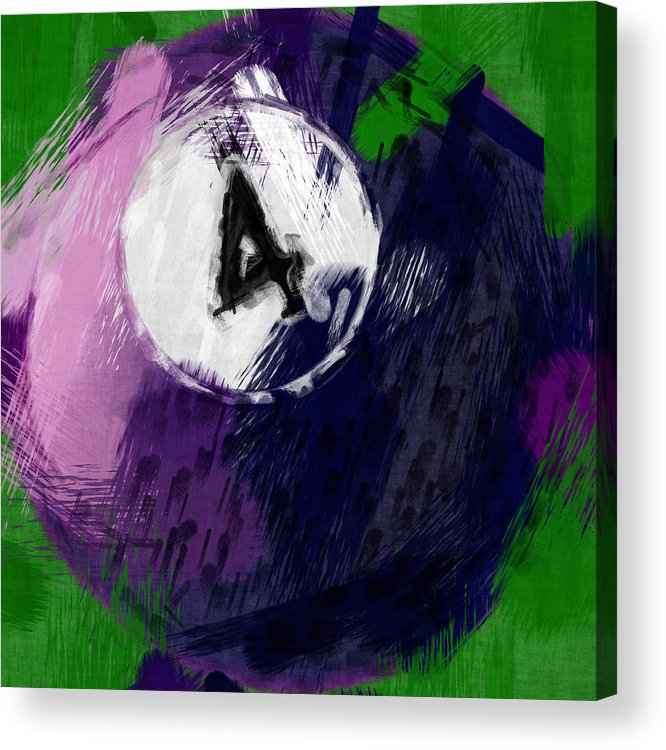 Four Acrylic Print featuring the photograph Number Four Billiards Ball Abstract by David G Paul