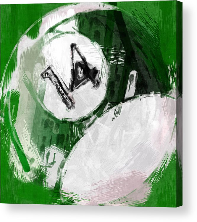 14 Acrylic Print featuring the photograph Number Fourteen Billiards Ball Abstract by David G Paul