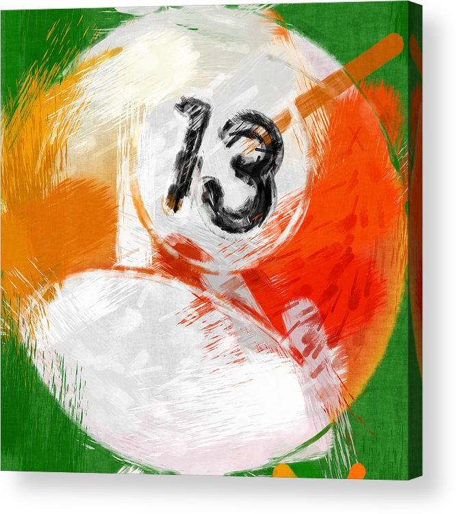 13 Acrylic Print featuring the photograph Number Thirteen Billiards Ball Abstract by David G Paul