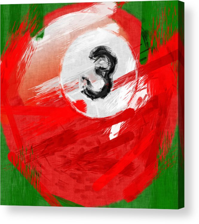 3 Acrylic Print featuring the photograph Number Three Billiards Ball Abstract by David G Paul
