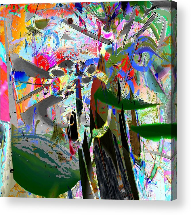 Abstract Red Blue Yellow Purple Acrylic Print featuring the digital art Nuts by Dave Kwinter
