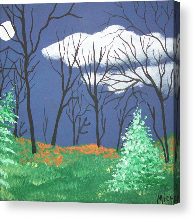 Folk Acrylic Print featuring the painting October Evening by Susan Michutka