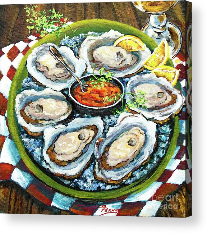 Oysters Acrylic Print featuring the painting Oysters On The Half Shell by Dianne Parks